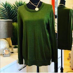 J. Crew Dark Green Tippi 3/4 Sleeve Sweater